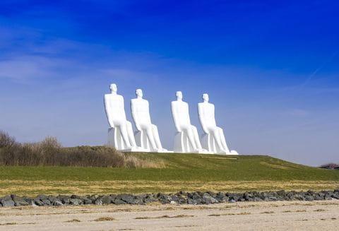 Mennesket ved havet, man op zee beeld, Esbjerg, Denemarken