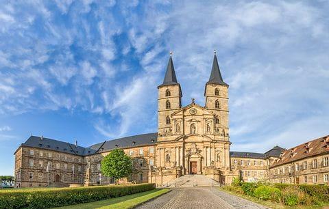 Klooster Michelsberg, Bamberg, Duitsland, Beieren, Main, Main Radweg