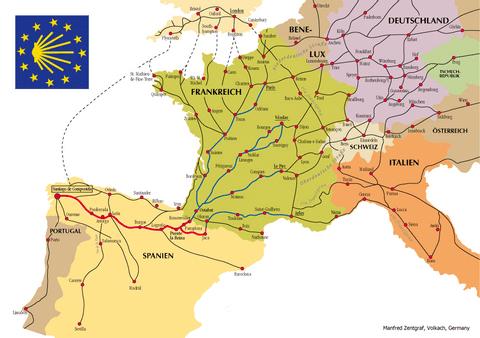 Jacobsroute europa met copyright