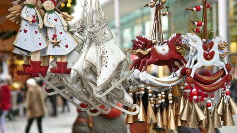 Winter, kerst, kerstmarkt, kerstversiering
