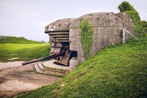 Geschutsbatterij, Longues-sur-Mer, Frankrijk, Normandie