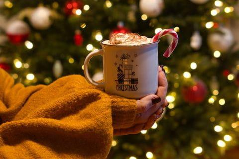Kerstmarkt, winter, kerst, chocolademelk
